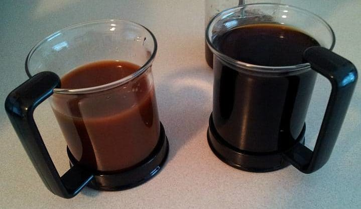 two glass cups with cold brew coffee