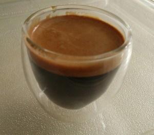 Espresso shot in Bodum glass cup 1