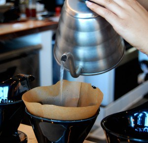 brewing pour over coffee with Hario kettle